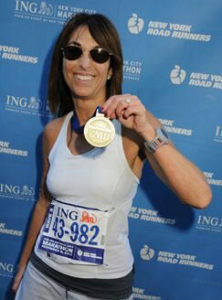 In 2011, Leslie ran the New York Marathon.