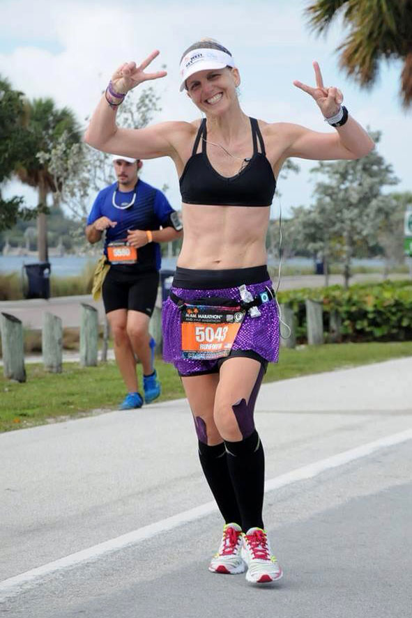 Jo ran the Miami Marathon on February 2, 2014.