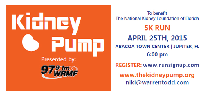 Kidney Pump 5K – Abacoa, April 25 @ 6pm